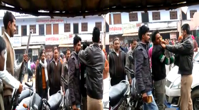 constable beats youth in gosaiganj