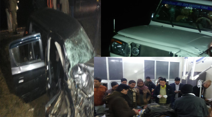 horrific collision car and bolero bahraich
