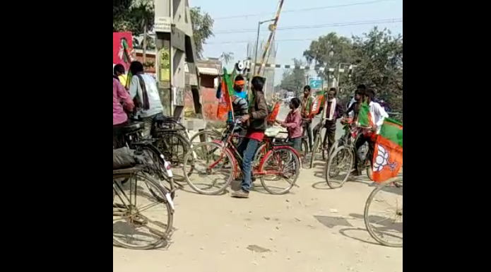 bjp campaign on bicycle