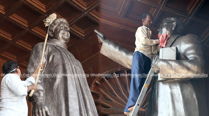mayawati government statues cleaning work