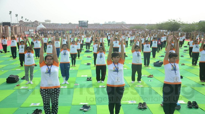 international yoga day rehearsal images in lucknow up