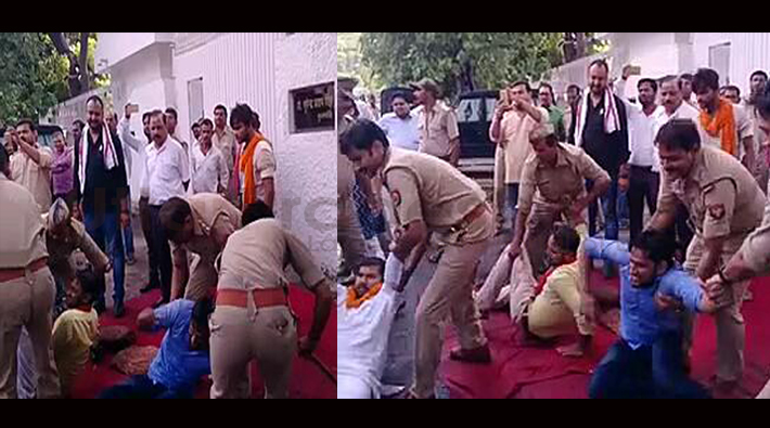 lathicharge in lucknow university