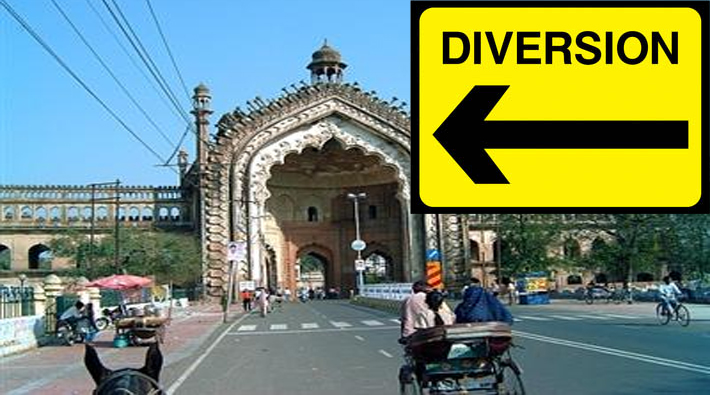 traffic diversion in lucknow
