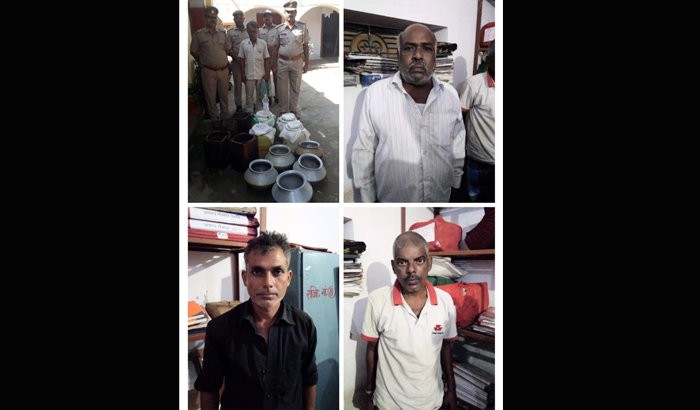 Jaunpur : police found illegal country liquor in raid, 4 arrested