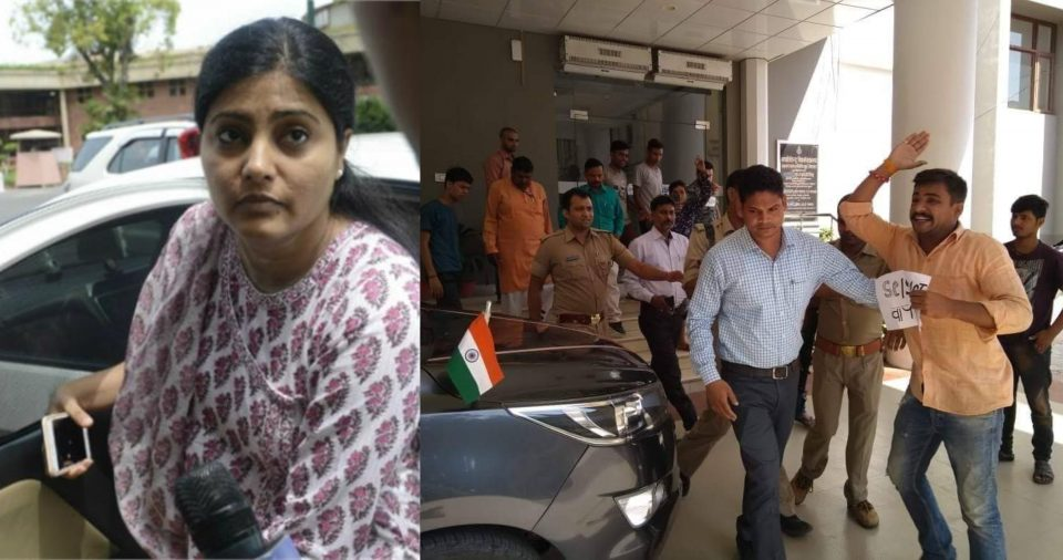 bhu-students-protest-against-minister-anupriya-patel-on-scst-act