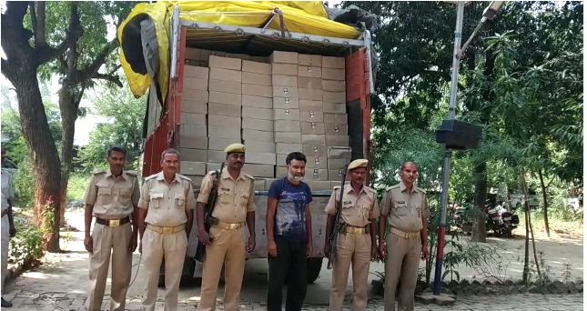 police team Arrested truck driver with illegal liquor worth 45 lakhs
