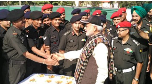 PM Narendra Modi with troops at the Dograi Memorial in Amritsar