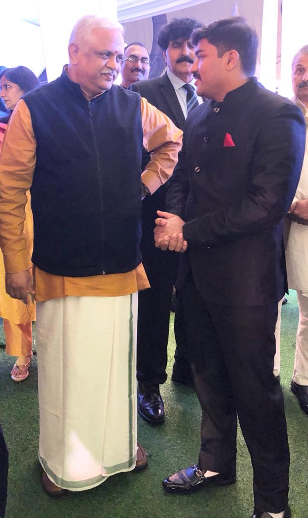 Shrayam Bhargava, a leading businessman and BJP politician, takes blessings from BL Santosh at a recent event.